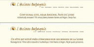 English and French menu gite website example