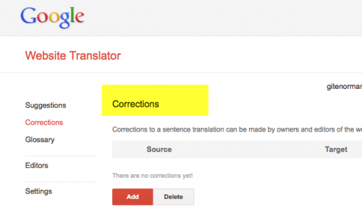 Google Translator corrections