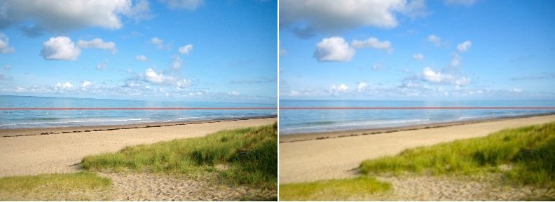 before and after beach and horizon